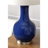 Abbyson Gourd Ceramic Table Lamp in Navy Blue - SP-30690-NAV