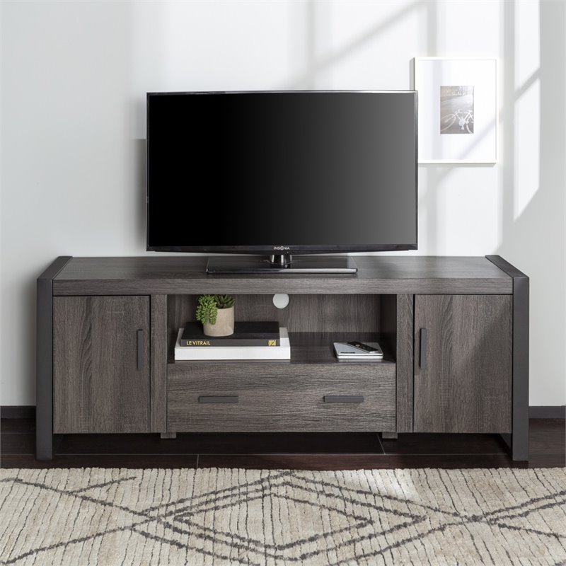 "Deals On Sofas And Loveseats 60"" Charcoal Grey Wood Tv Stand - W60ubc22cl"