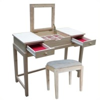Unfinished Vanity Table and Bench Set - K-BE-2-DT-2
