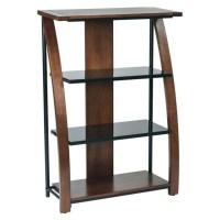 3 Shelf Bookcase With 2 Glass Shelf in Cherry - EMT27