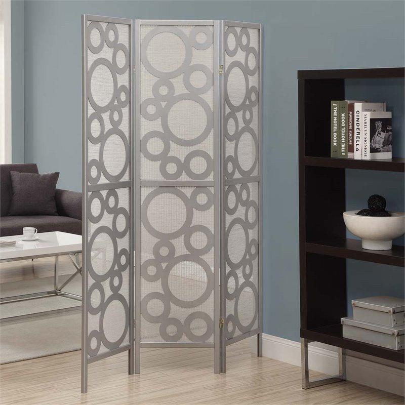 3 Panel Bubble Design Room Divider in Silver - I 4636