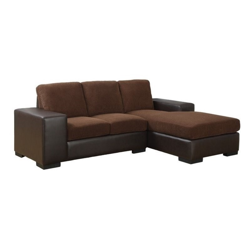 Corduroy Sofa Sectional Monarch Corduroy And Leather Sofa Lounger In Brown Modern