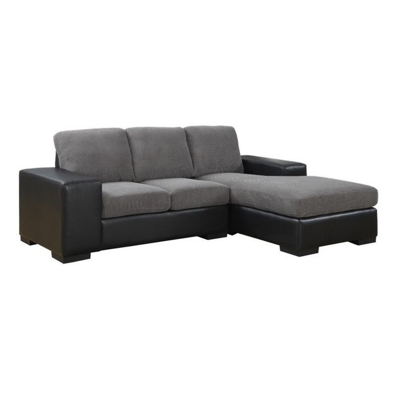 Corduroy Sofa Sectional Monarch Corduroy And Leather Sofa Lounger In Charcoal Gray