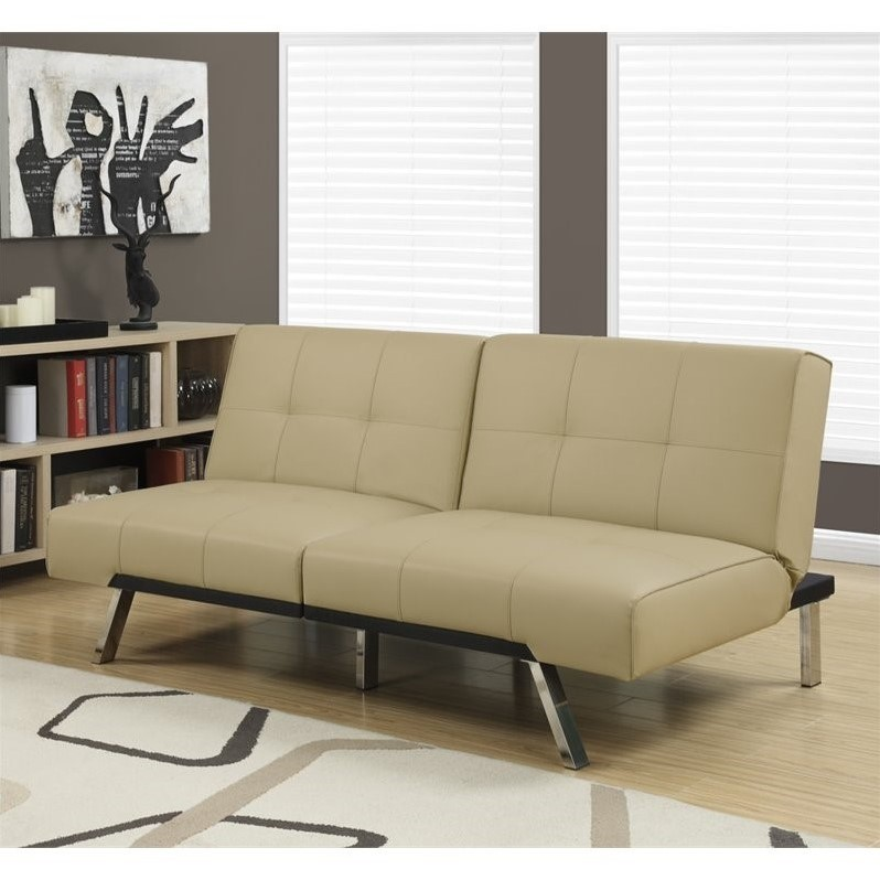 Leather Tufted Split Back Convertible Sofa In Taupe I 8937 - Taupe High Back Sofa