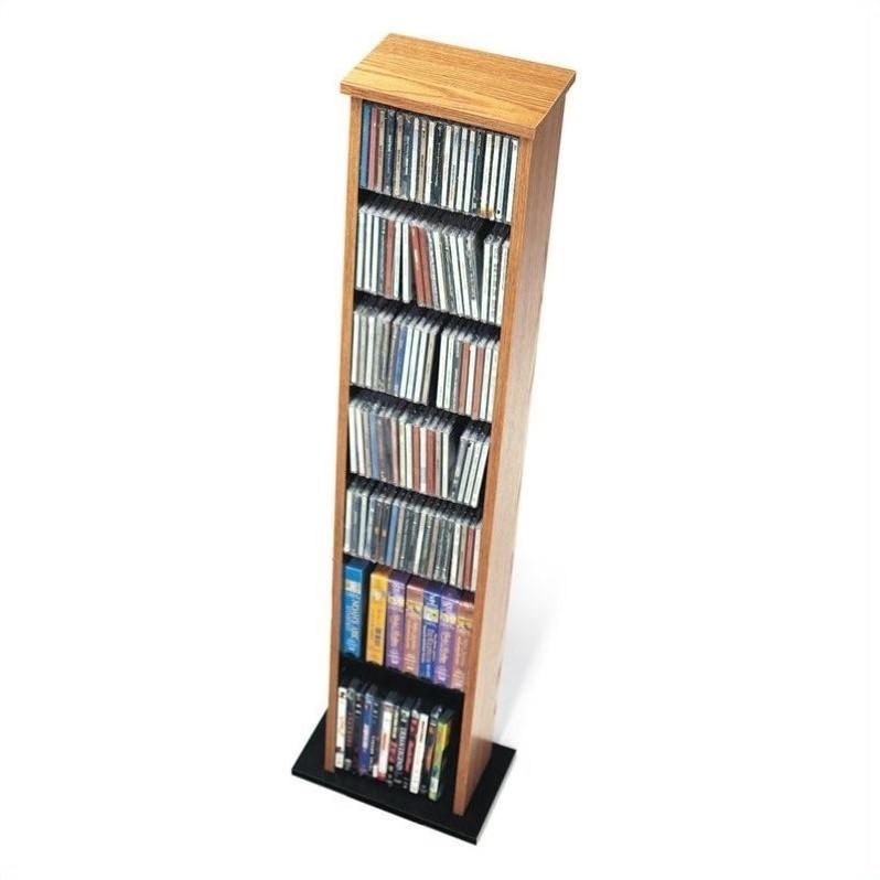 """51"""" Slim Multimedia CD DVD Storage Tower in Oak and Black"""