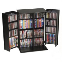 Prepac 64 Slim Barrister Cd Dvd Media Storage Tower In Black