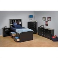 Black Tall Twin Wood Platform Storage Bed 3 Piece Bedroom ...
