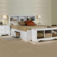 White Queen Bookcase Platform Bed 3 Piece Bedroom Set ...