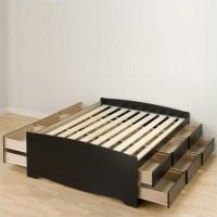 Black Queen Bookcase Platform Bed 3 Piece Bedroom Set ...