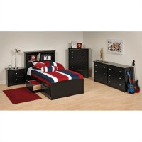 Prepac Sonoma 4-Piece Twin Youth Bedroom Set Metal Sets in ...