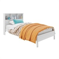 Twin Single Bed with Bookcase Headboard in White