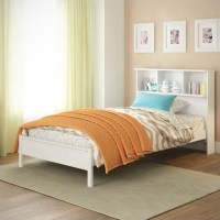 Twin Single Bed with Bookcase Headboard in White - BAF-510-S