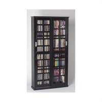 "62"" CD DVD Wall Media Storage Cabinet in Black - MS-700B"