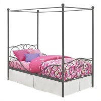 Canopy Twin Metal Bed in Pewter - 4020959