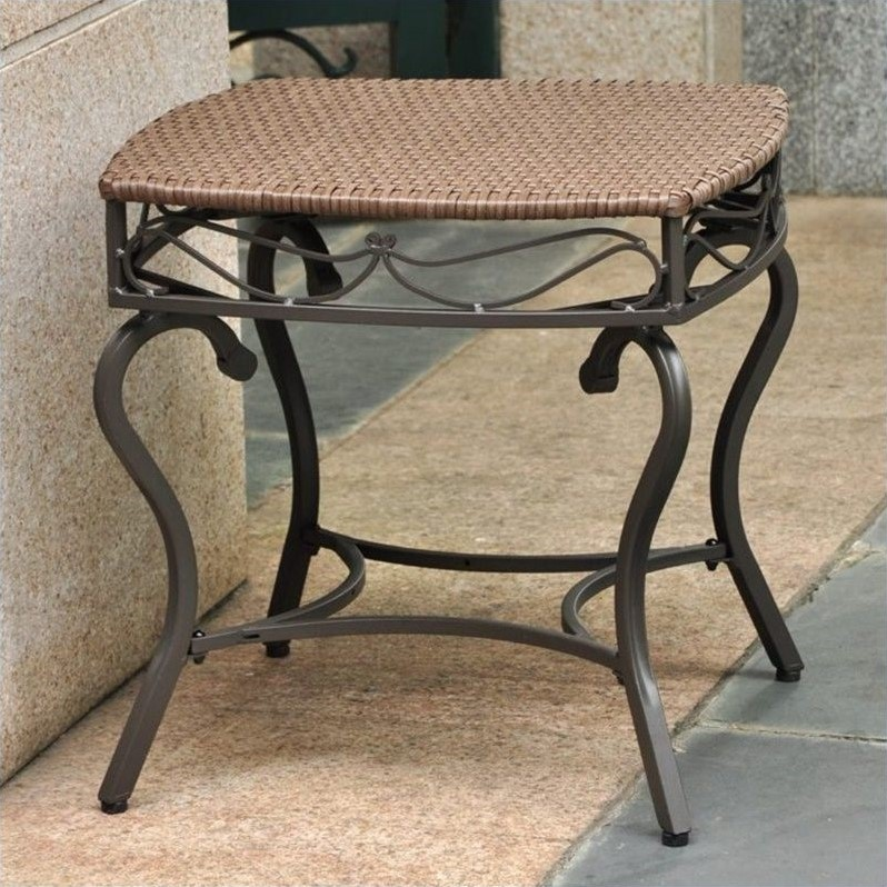 Resin Wicker Steel Patio Side Table 4112 St Abn