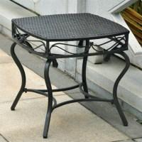 Resin Wicker/Steel Patio Side Table - 4112-ST/BKA