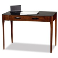 Leick Obsidian Glass Top Writing Desk in Chestnut - 11111