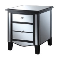 Mirrored End Table in Black
