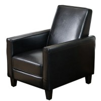 Trent Home Delouth Leather Recliner Club Chair in Black ...