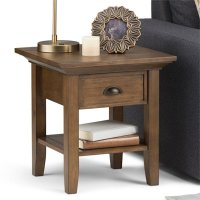 Simpli Home Redmond End Table in Rustic Natural Aged Brown ...