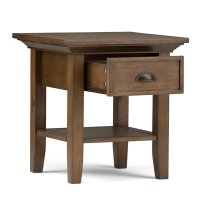 Simpli Home Redmond End Table in Rustic Natural Aged Brown