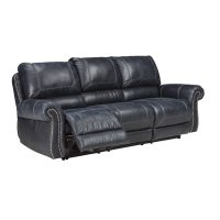 Ashley Milhaven Reclining Faux Leather Sofa in Navy - 6330488