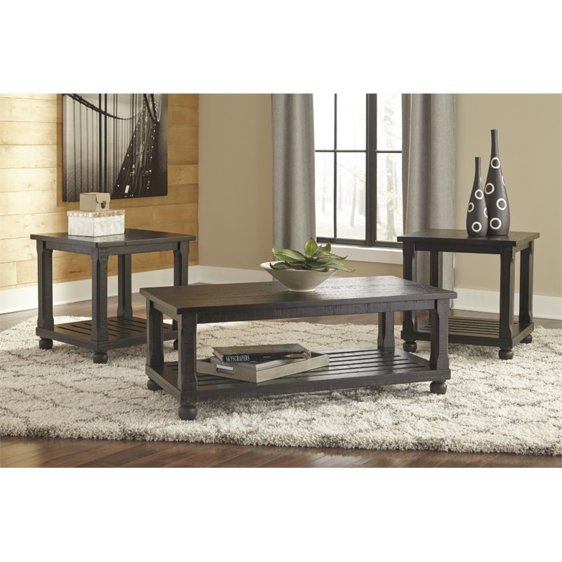 Ashley Mallacar 3 Piece Coffee Table Set in Black - T145-13 - 3 piece living room table set