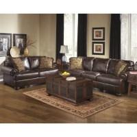Ashley Furniture Axiom 2 Piece Leather Sofa Set in Walnut ...