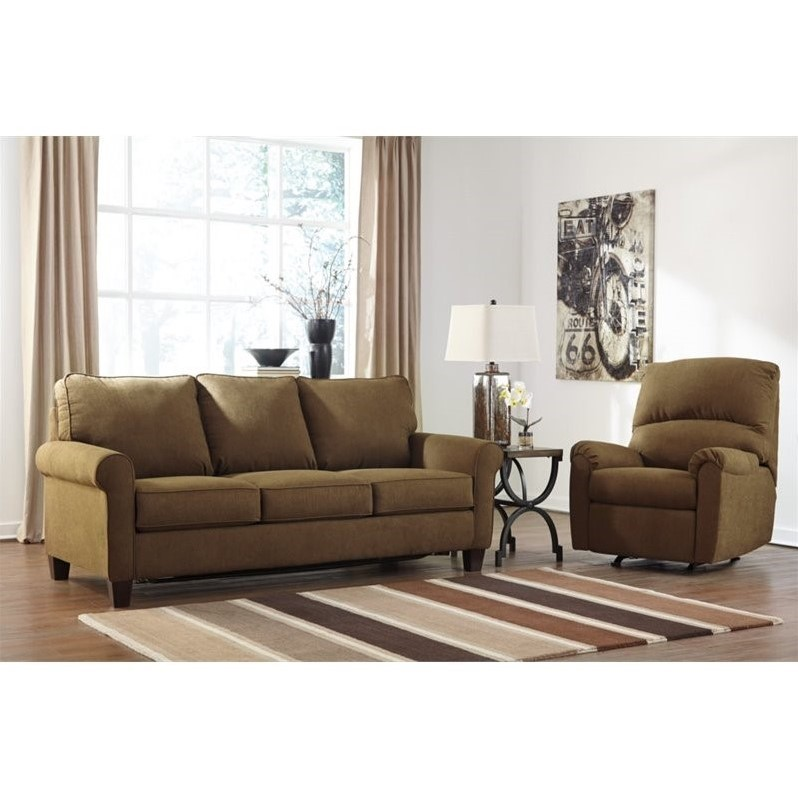 Sleeper Sofa Living Room Sets Ashley Zeth 2 Piece Queen Sleeper Sofa Set And Recliner In