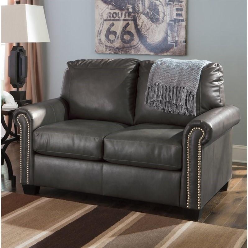 Ashley Furniture Lottie Leather Twin Sleeper Sofa In Slate