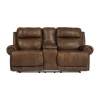 Ashley Austere Reclining Faux Leather Console Loveseat in ...