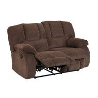 Ashley Roan Fabric Reclining Loveseat in Cocoa - 3860486