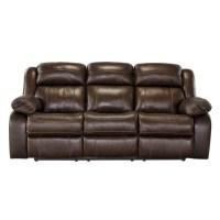 Ashley Branton Leather Reclining Sofa in Antique - U7190188