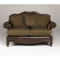 Ashley Claremore Faux Leather Loveseat in Antique - 8430335