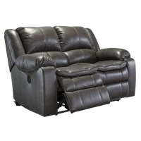Ashley Long Knight Faux Leather Reclining Loveseat in Gray ...