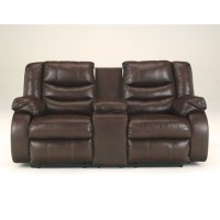 Ashley Linebacker Leather Reclining Console Loveseat in ...