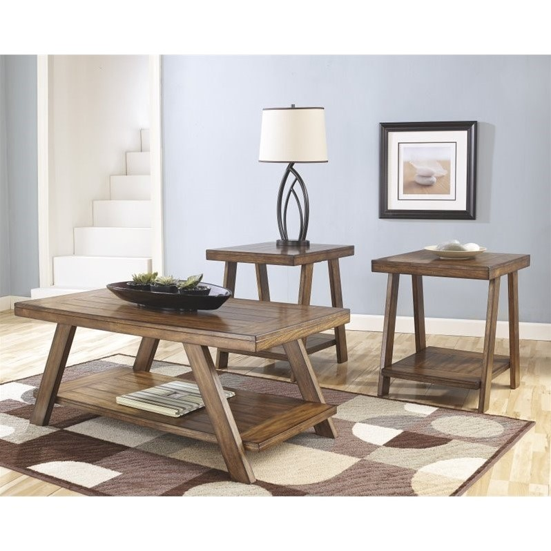 Ashley Bradley 3 Piece Coffee Table Set in Burnished Brown - T392-13 - 3 piece living room table set