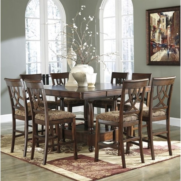 ashley leahlyn 9 piece counter height dining set