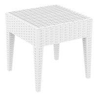 Compamia Miami Square Resin Patio Side Table in White ...