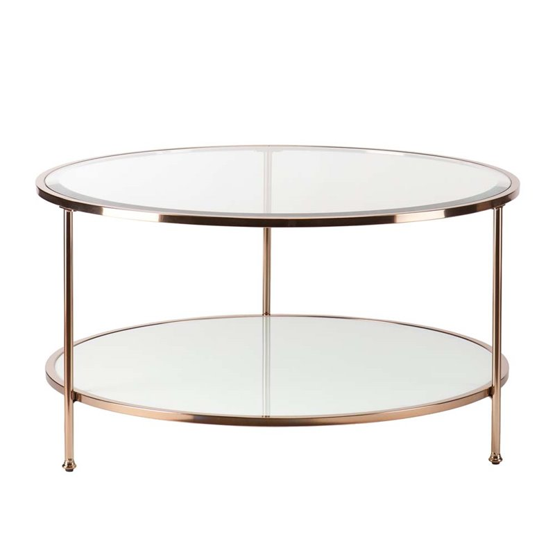 Couchtisch Oval Gold Southern Enterprises Risa Round Glass Top Coffee Table In