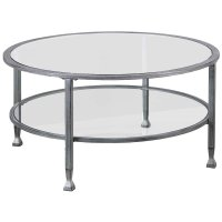Southern Enterprises Jaymes Round Glass Top Coffee Table ...