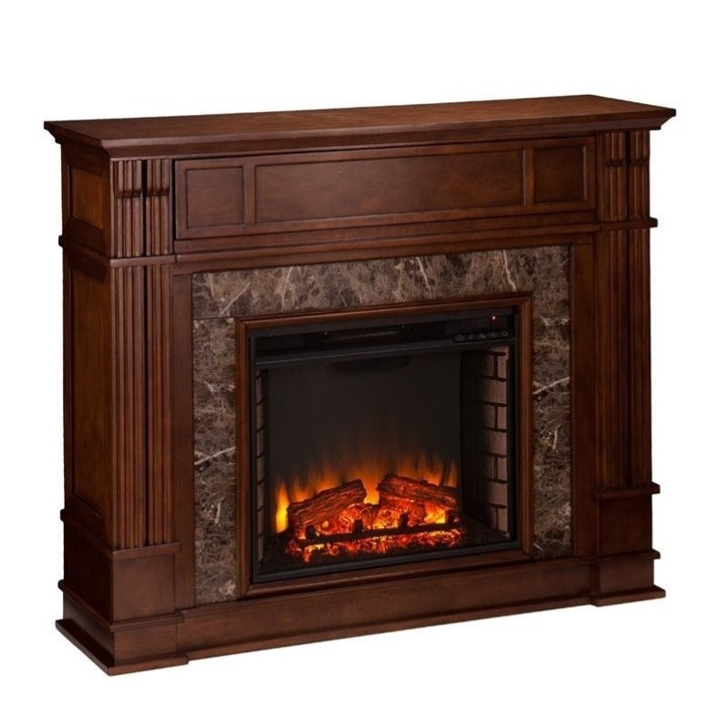 Entertainment Center Maple Highgate Faux Stone Fireplace