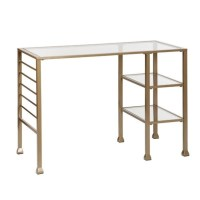 Southern Enterprises Metal-Glass Writing Desk in Gold - HO3776