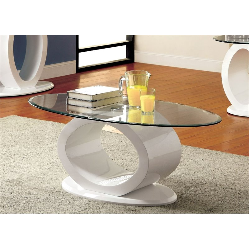 Couchtisch Oval Glas Furniture Of America Mason Oval Glass Top Coffee Table In