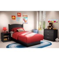 South Shore Libra Kids Pure Black Twin Wood Platform Bed 3 ...