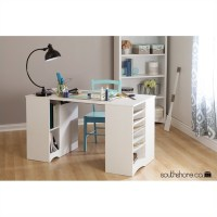 South Shore Artwork Craft Table with Storage in Pure White ...
