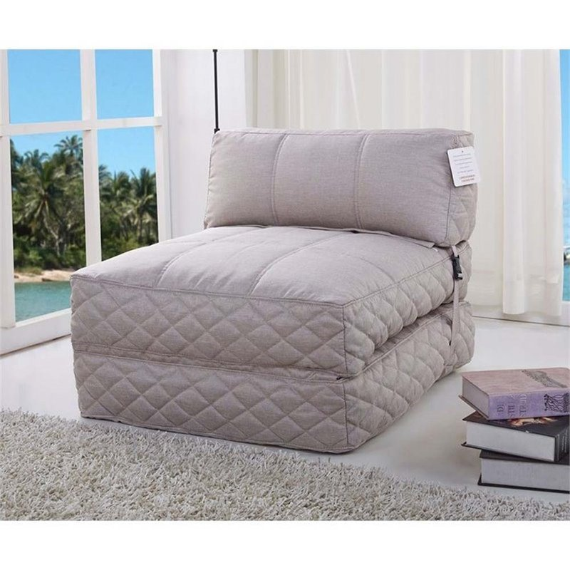 Pemberly Row Convertible Bean Bag Chair Bed In Latte Pr