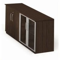 Mayline Medina Low Wall Cabinet with Doors (Wood-Glass ...