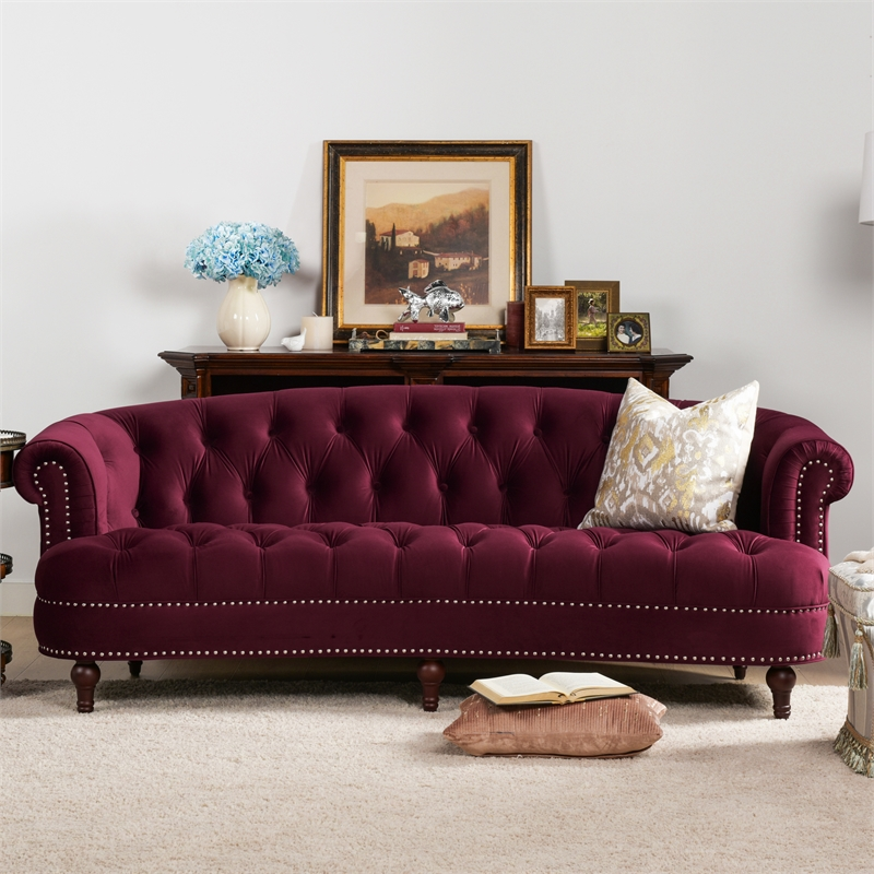 "Rosa Couch La Rosa 84"" Victorian Chesterfield Tufted Sofa Burgundy ..."