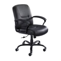 Mid Back Big and Tall Office Chair in Black Leather - 3501BL